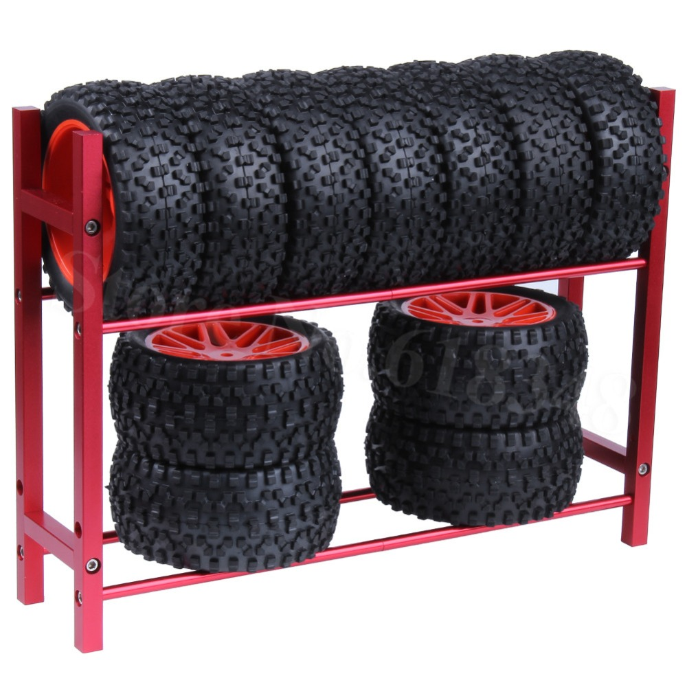 Metal Aluminum <font><b>RC</b></font> Car Tires Rack <font><b>Wheels</b></font> Shelf for <font><b>1/10</b></font> Scale Remote Control <font><b>Drift</b></font> Models Buggy Crawler Tools image