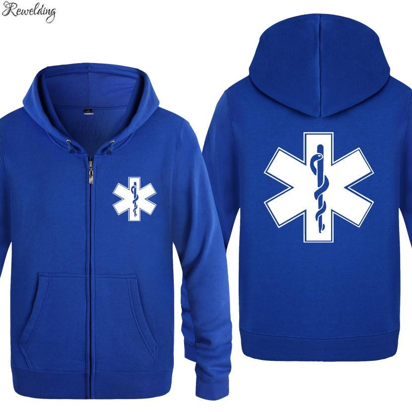 EMT Emergency Ambulance Printed Hoodies Men Brand Fleece Long Sleeve Mens Jacket Sweatshirt Coat Winter Hoody Moletom Sudaderas