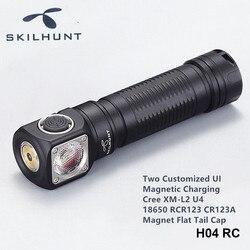 Skilhunt H04RC H04FRC H04RRC المغناطيسي قابلة للشحن العمل رئيس مصباح يمكن ارتداؤها عقال 18650 كري LED المصابيح الأمامية مع غطاء مغناطيسي