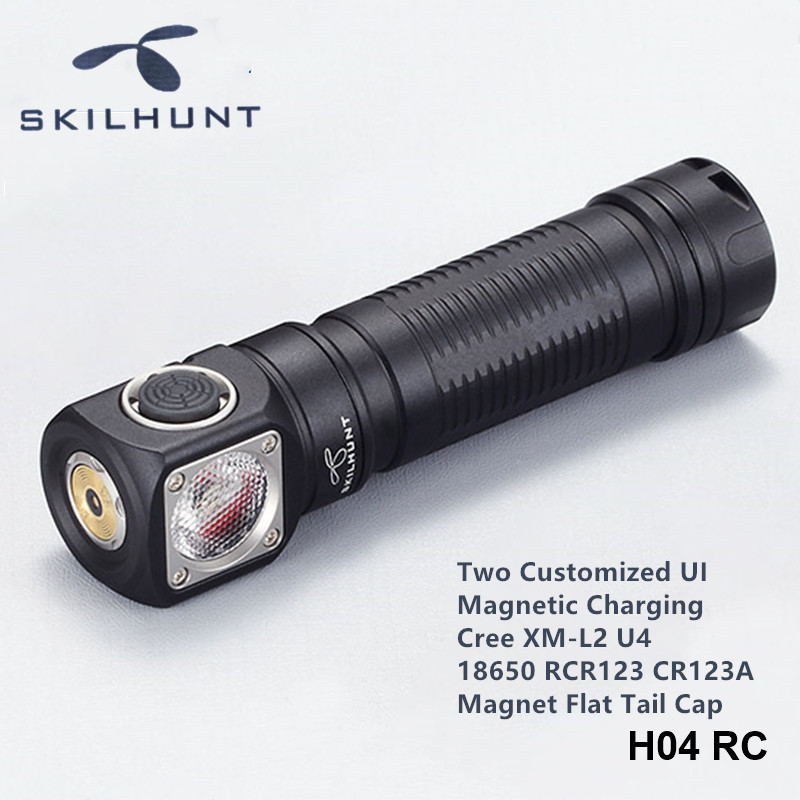 Skilhunt H04RC H04FRC H04RRC Magnetic Rechargeable Work Head Lamp Wearable Headband 18650 Cree LED Headlights With Magnet Cap