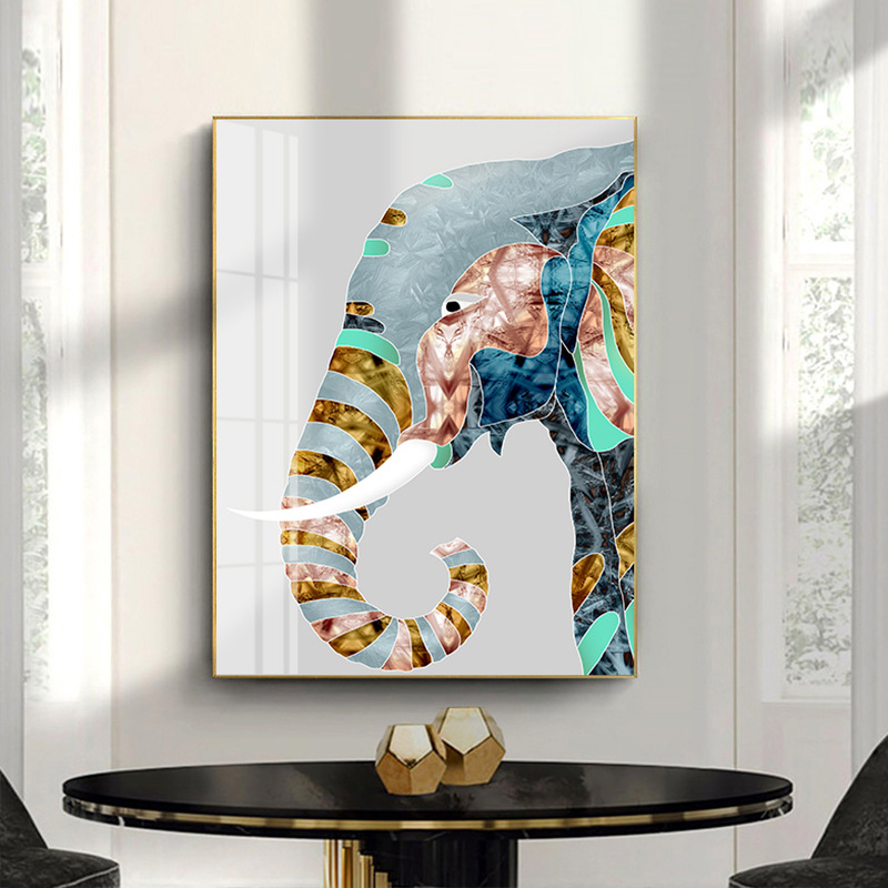 Mordern Юго-Восточной Азии животное индийский счастливый плакат с дизайном «слон» и принтом холст живопись искусство стены картина для гостин...