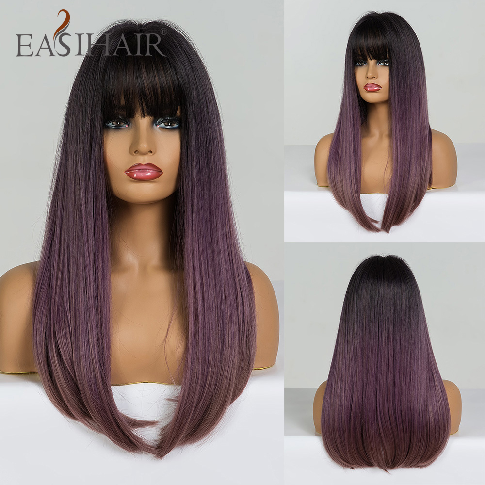 EASIHAIR Long Straight Black To Purple Ombre Hair Wigs With Bangs Synthetic Wigs Gluless Heat Resistant Wigs For Black Woman