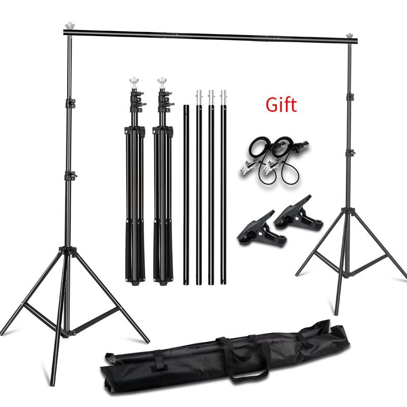 Fundo de fotografia suporte kit sistema de suporte para foto estúdio musselina backdrops, papel e lona com bolsa de transporte