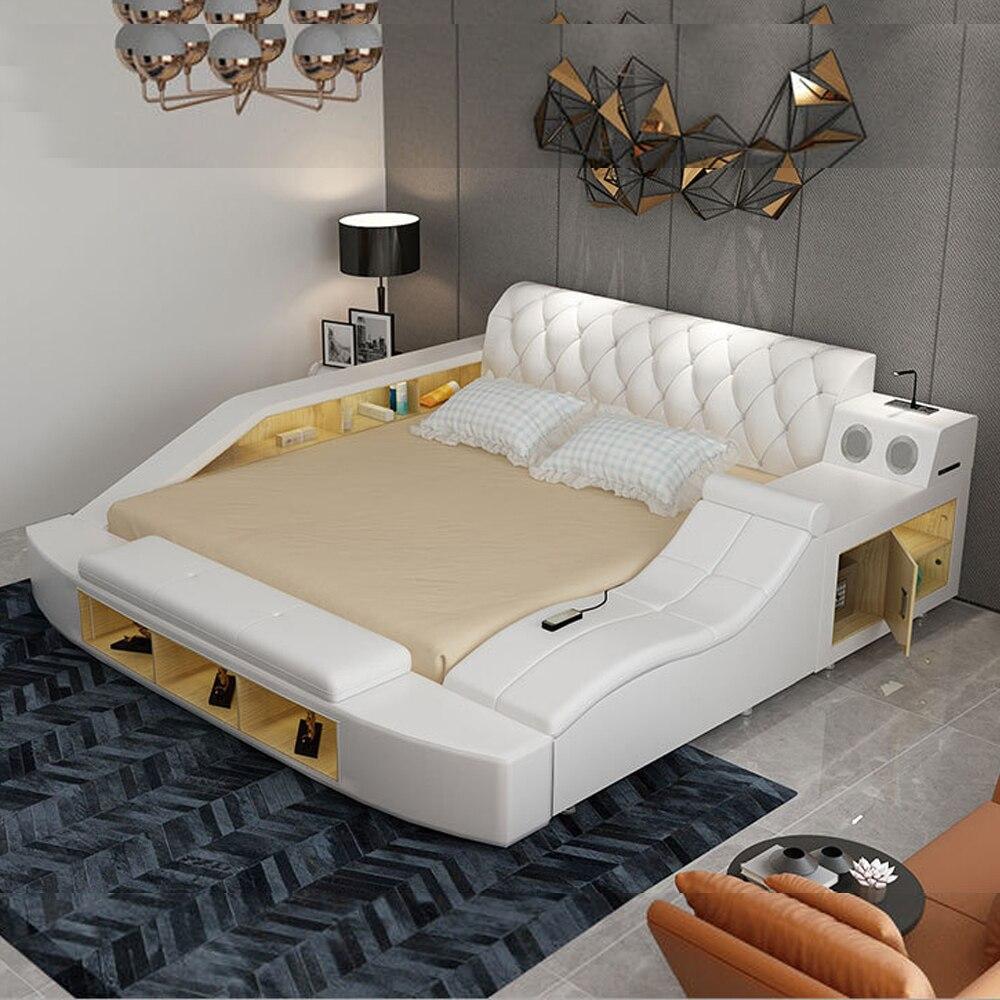 Cama de cuero auténtico suave para dormitorio, muebles de dormitorio, yatak mobilya quarto, altavoz de masaje, almacenamiento con bluetooth