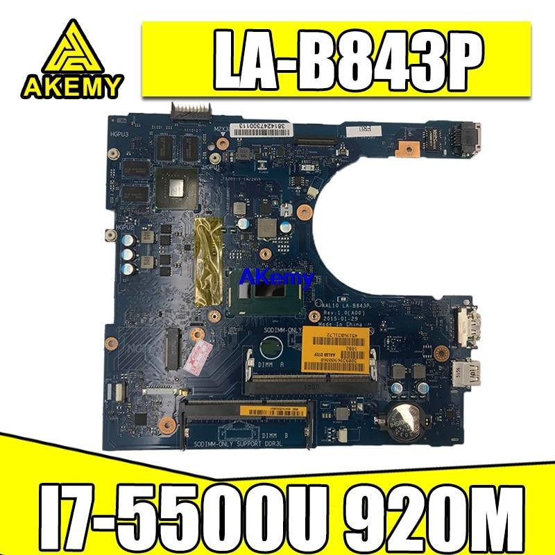 I7-5500U 920M 2G FOR Dell Inspiron 5458 5558 5758 Laptop Motherboard AAL10 LA-B843P CN-0VFD5V 0VFD5V VFD5V mainboard