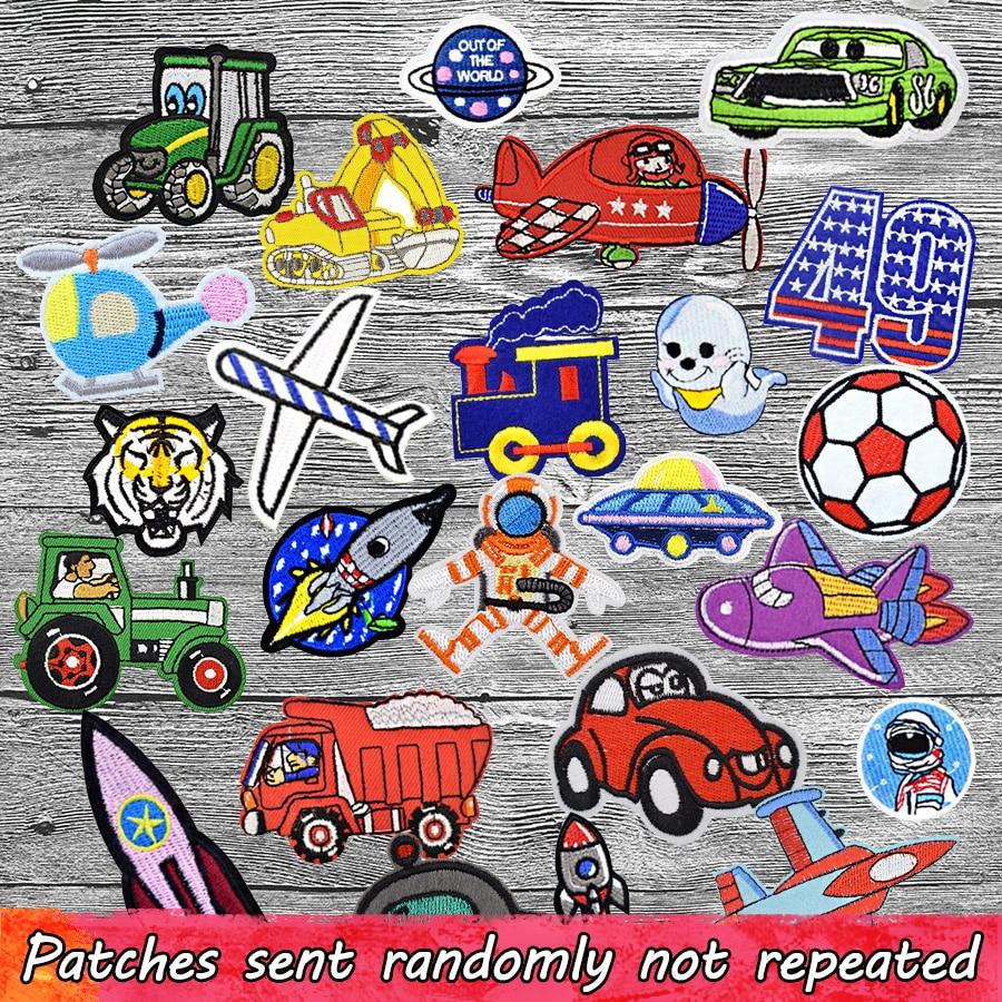 Случайные нашивки для мальчиков для одежды, смешанный мультяшный автомобиль, самолет, животные, аппликация, утюжок, вышивка, DIY одежда, аксес...