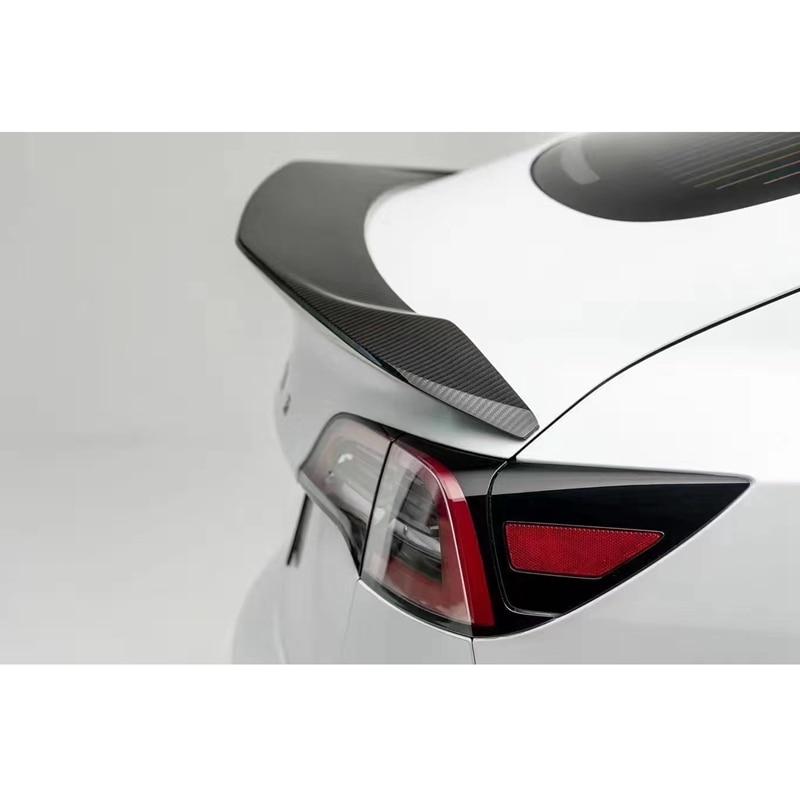 Pour Tesla modèle 3 2017 2020 arrière fibre de carbone arrière botte aile Spoiler arrière toit aileron aile coffre lèvre botte couverture voiture style - 3