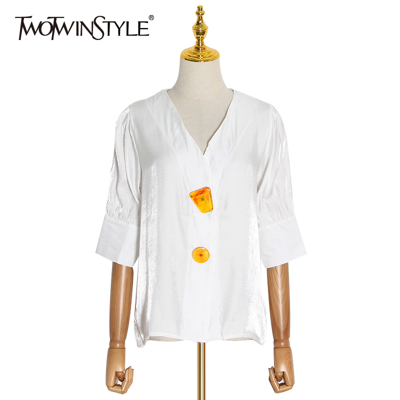 TWOTWINSTYLE Patchwork Elegant White Shirts For Women V Neck Half Sleeve Casual Hit Color Button Shirt Female 2020 Fashion New