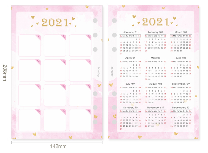 Fromthenon 2020 2021 Year Calendar Index Dividers Watercolor