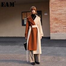 [EAM] 느슨한 맞는 대비 색 붕대 긴 모직 코트 파커 새로운 긴 소매 여성 패션 조수 봄 가을 2020 1H832