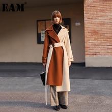 [Eam] ルーズフィットコントラストカラー包帯ロングウールコートパーカー新長袖女性ファッションタイド春秋2020 1H832