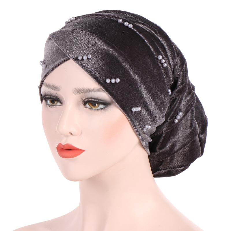 Muslim Head Scarf Women Hijab Caps Velveteen Pearl Turban Hat Muslim Turban Folding Pile Hat  Fashion  Knitted  Scarf Hijabs