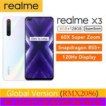 Перейти на Алиэкспресс и купить Realme X3 UFS 3,0 30 Вт Зарядное устройство смартфон 8 Гб 128 ГБ Snapdragon 855 + 120 Гц дисплей 64 мп 60X супер зум камера Quad глобальная версия