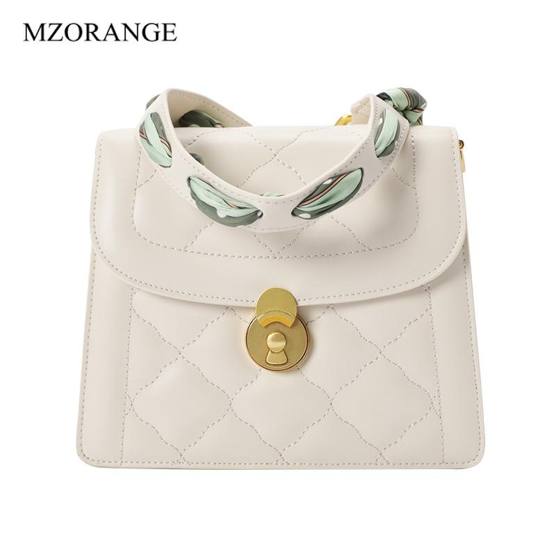 Grnuine couro rhombic feminino tote bolsa crossbody cinta com lenço pequeno quadrado saco 2019 feminino selvagem moda ombro sacos de órgão