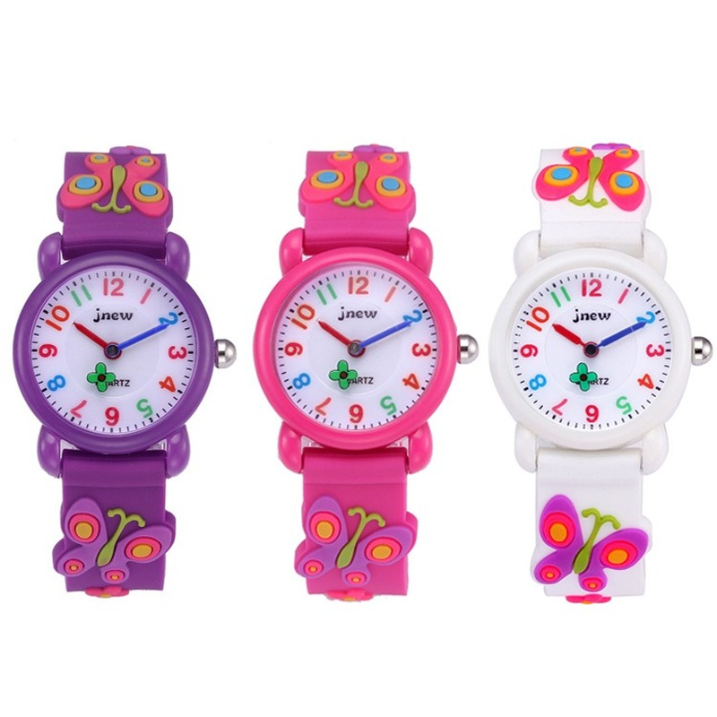 Silicone Cartoon Children Waterproof Quartz Wristwatch Primary School Girls Watch Kids Watches Water Resistant 3Bar Plastic
