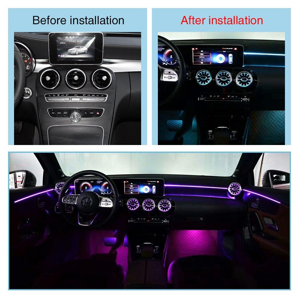 Luz de ventilação do carro para benz w205 glc c classe turbina tomada led lâmpada ar condicionado entrada de ventilação centro console iluminação luzes ambiente - 5