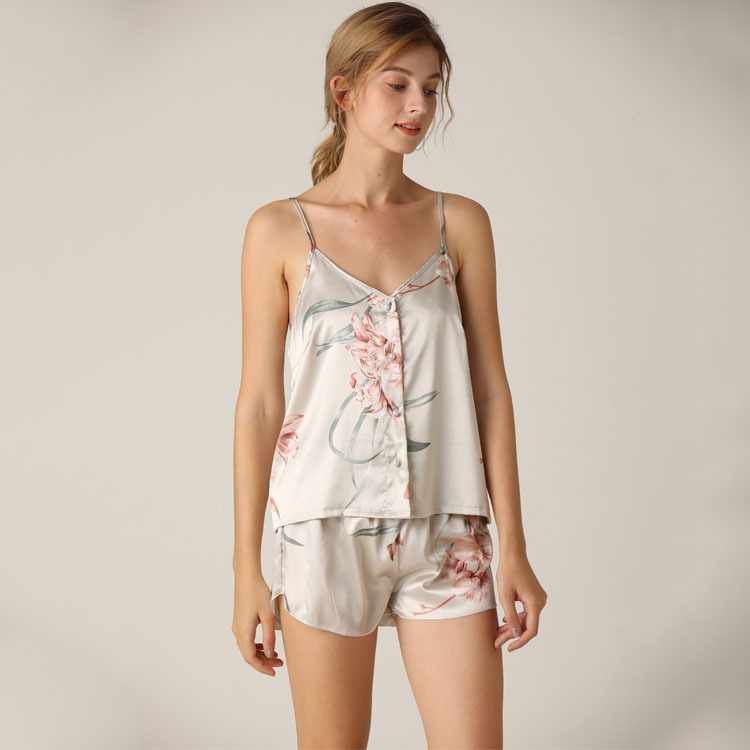 Lisacmvpnel Imitate Real Silk Pajamas Suit Camisole Shorts Flower Colour Twinset Nightwear