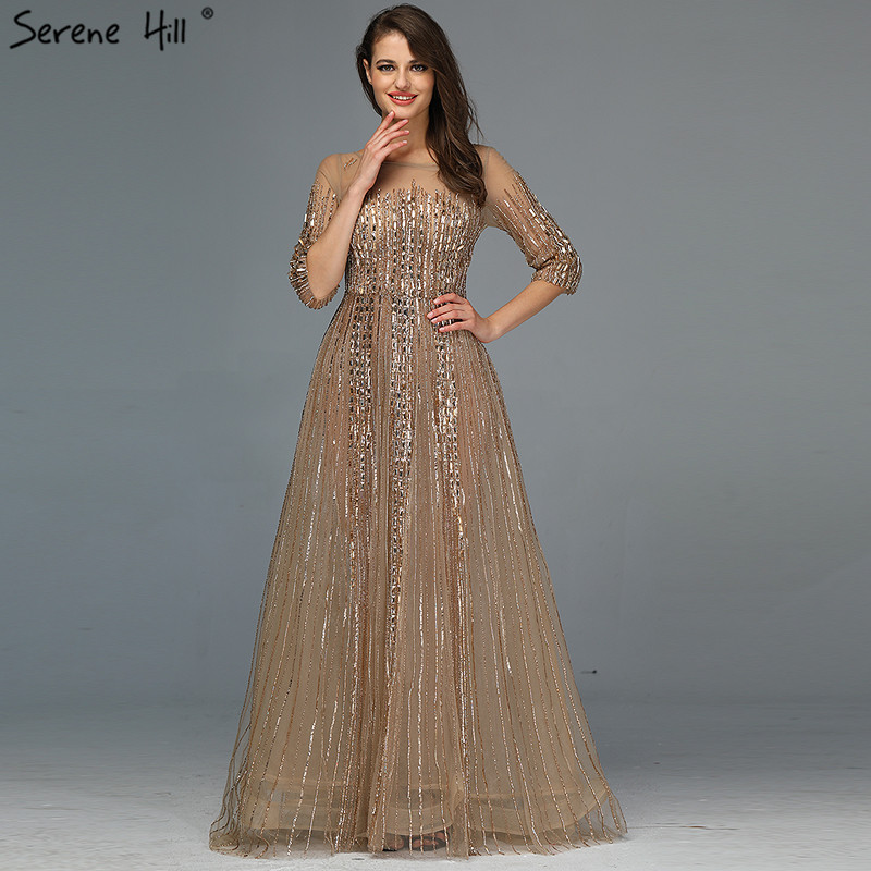 Gold Dubai Design Long Sleeves Evening Dresses 2020 A Line Luxury Beading Crystal Evening Gowns Real Photo LA70170Evening Dresses   -