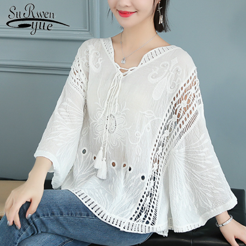 Casual Summer Women Tops And Blouse Solid White Knit Hollow Lace Blouse Blusas Mujer De Moda 2019 Print Female Blusa 5739 50