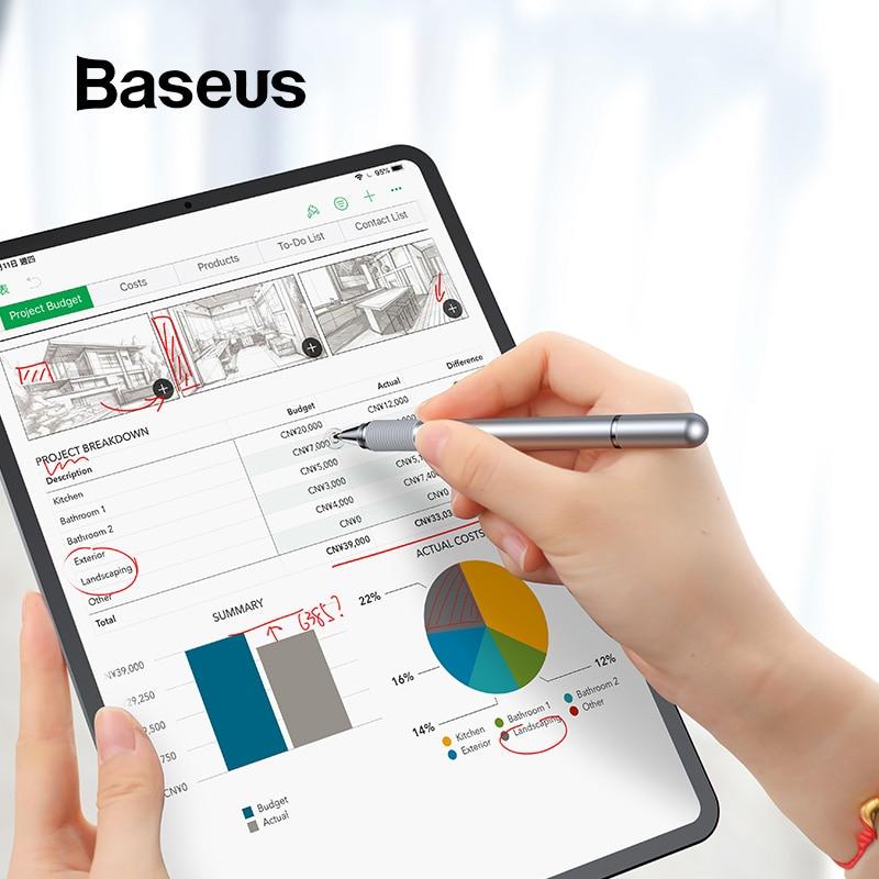 Baseus bolígrafo Stylus universal multifunción pantalla táctil lápiz táctil capacitivo Touch Pen para iPad iPhone Samsung Xiaomi Huawei Tablet pluma