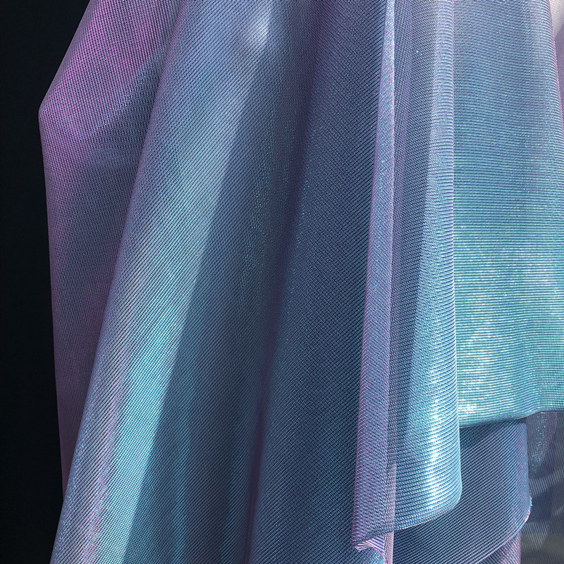 Symphony Gradient Fabric Mesh Laser Blue Purple Clothing Perspective Dress Fabric Curtain Clothing Photo Background Cloth Fabric