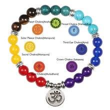 Reiki 7 chakra cura grânulo pulseira de pedra natural mala pingente buddha equilíbrio pulseiras para mulheres homens yoga jóias dropshipping
