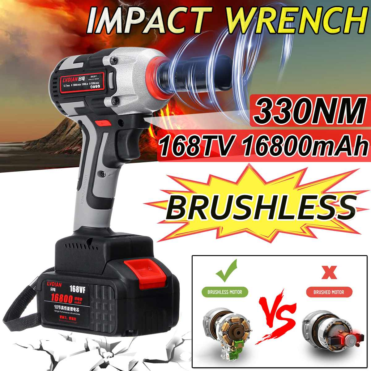 New 16800mAh 330NM Brushless Cordless Electric Wrench Impact Driver Power Tool Rechargeable Lithium Battery Household Drill