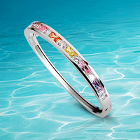 Authentic 925 Sterling Silver for women multicolor Colors bracelet Bangles With Crystal clear Zirconia Bracele Luxury Jewelry