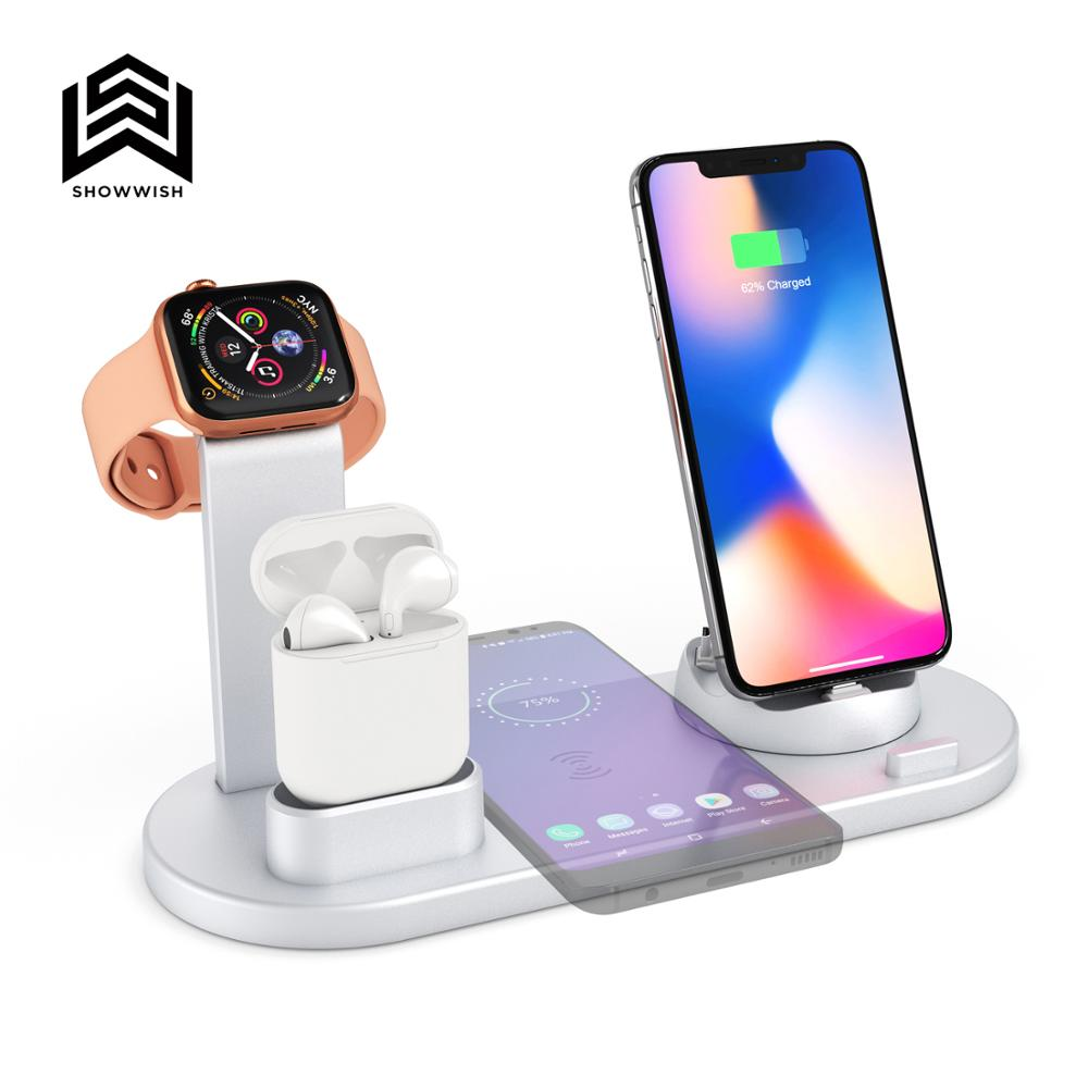 Wireless <font><b>Charger</b></font> 4 in 1 Wireless Charging Dock Compatible for apple Watch for Airpods Charging Station Qi Fast Wireless Charging image