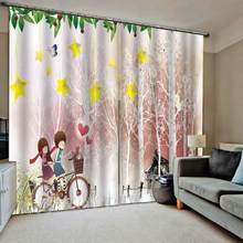 romantic pink curtains girls curtain Window Blackout Luxury 3D Curtains set For Bed room Living room(China)