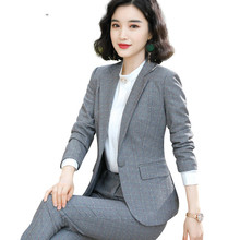 Серая женская одежда высокого класса Формальные предприятия брюки офисная работа Материнство Одежда костюм спандекс