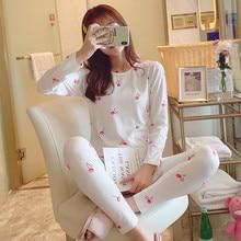 Womens Cotton Pajamas Sets 2 Pcs Cotton Cartoon Printing Pijama Homewear Pyjamas Long Sleeve O-Neck