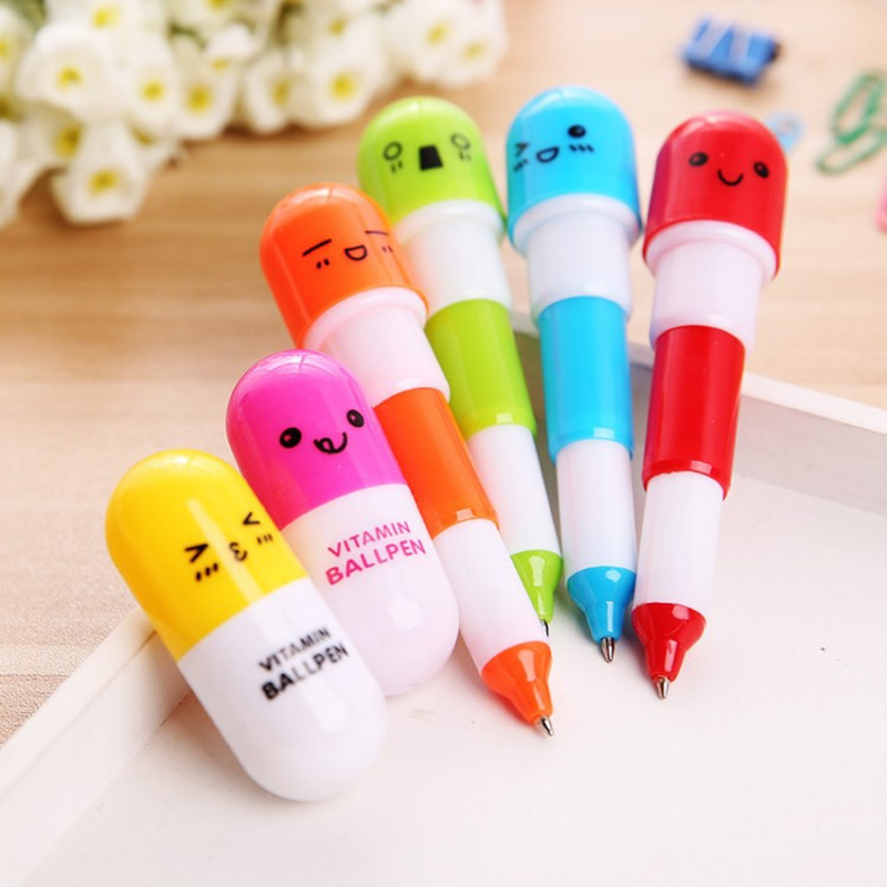 6pcs Back To School Present Kawaii Capsule Creative Pills Ballpoint Pen Wedding Gifts for Guests Bridesmaid Gifts Party Favors