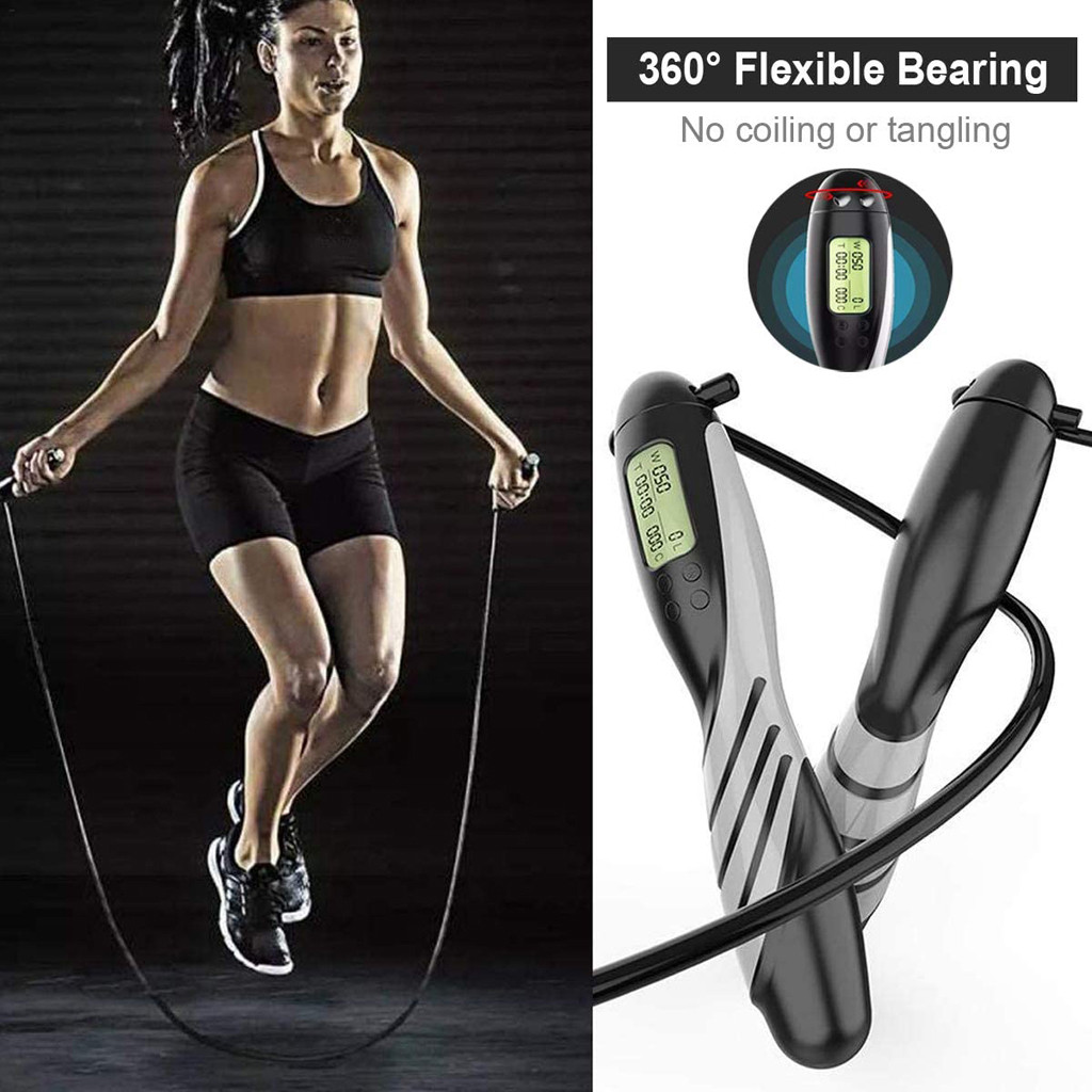 Jump Skipping Rope with Digital Calorie Counter Fitness Weight Loss 7N
