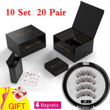 MB 10 Set 4 Magnetic Eyelashes False Eyelashes 3D/6D  Natural Lengthening Makeup 20 Pair Magnets lashes Upper With Gift Box lengthening false eyelashes with glue