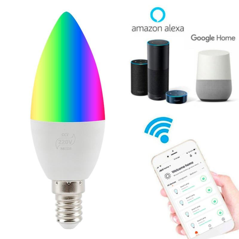 1/2 Uds Control de voz inteligente bombilla de vela E14/E12 RGB vida 4W luces Led compatibles con Alexa y Google Control de voz en casa 85-265 V, luz infrarroja para interiores y exteriores, Sensor de movimiento, retardo de tiempo, interruptor PIR de iluminación para el hogar, lámpara nocturna sensible Led