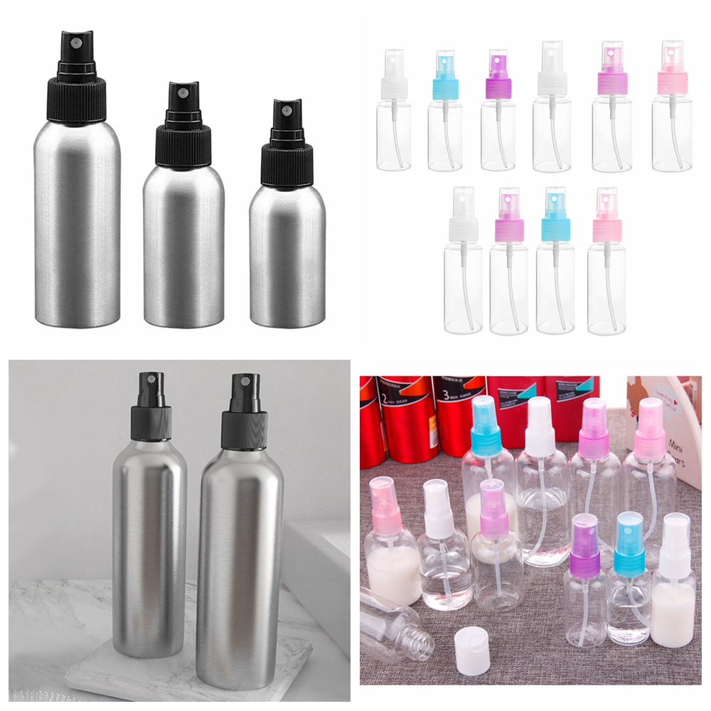 1pc 30/50/100ml Aluminium Spray Refillable Bottle Empty Bottles Travel Pump Cosmetic Pack Empty Atomizer Packaging Tool