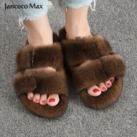 2020 New Styles Women's Real Mink Fur Slipper Top Quality Winter Slides Indoor Flip Flop Shoes S6076
