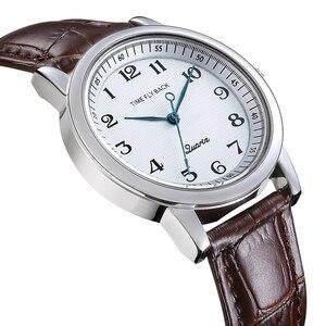 Image 3 - 쿼츠 시계 여성 반 시계 방향 역방향 저울 가죽 비즈니스 방수 시계 패션 반 시계 방향 시계 여성 시계