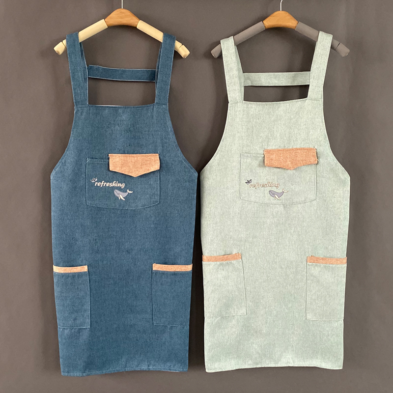 Household Kitchen Apron Waterproof Oil Proof Female Fashion Korean Cooking Apron Adult Work Clothes Custom Logo Print