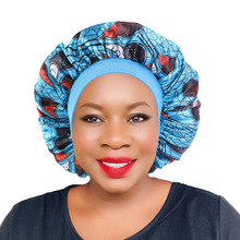 New Women Wide Band Hair Caps African Pattern Print Silky Bonnet Cap Soft Night Sleep Hat Ladies Turban Hair Styling Accessories