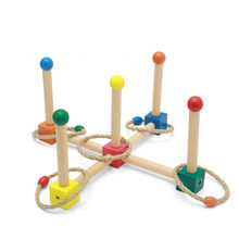 Funny Throwing Circle Game Toy Baby toy wooden block ring teaching Hand eye coordination color wood Assembling kid learning toy(China)