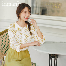 INMAN 2020 Spring New Arrival Literary Doll Colar Lace Age reducing Wave Point Loode Medium Sleeve Shirt Blouse