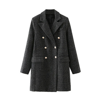 Winter Clothes Loose Temperament Retro Double-Breasted Lapel Plaid Twill Mid-Length Suit Jacket