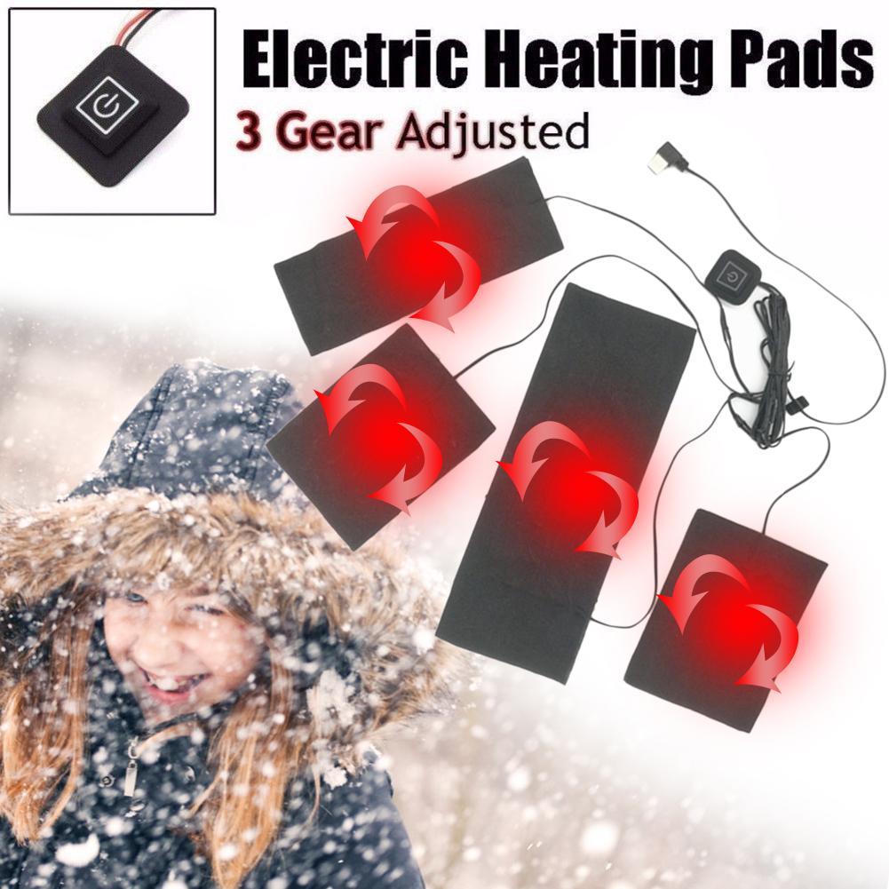 4 In 1 USB Electric Heating Pads Vest Clothes Heater Warmer Portable For Heated Vest Coat Clothes For Outdoor Sports Riding Fish