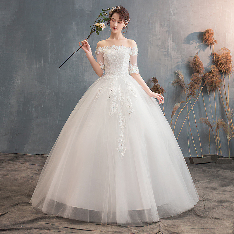 Illusion Lace Wedding Dresses Half Sleeve Off The Shoulder Beaded Appliques Elegant White Wedding Gowns For Bride Trouwjurk 2020