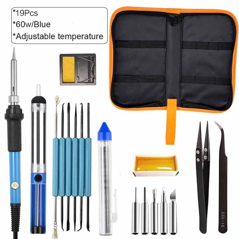 60 Вт/80 Вт Профессиональный ЖК-цифровой электрический паяльник с регулируемой температурой Электрический паяльник мини-паяльник - Цвет: 60w Blue 19pcs