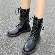 2019 Fashion Leather Boots For Women Flat Mid-Calf Spring Autumn Black Shoes