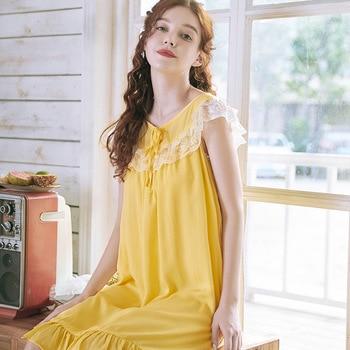 Wasteheart Summer Women Homewear Female Yellow Sexy Sleepwear Nightdress Lace O Neck Nightwear  Nightgown XL