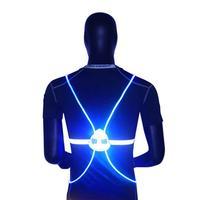 Chaleco reflectante para conducción con luz LED, alta visibilidad, para ciclismo nocturno, correr, andar al aire libre, luz para actividades de seguridad, 360